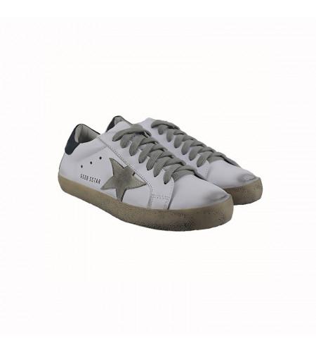 Женские кроссовки Голден Гус бело синие