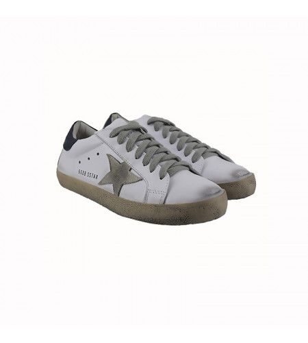 Мужские кроссовки Голден Гус белые с синим