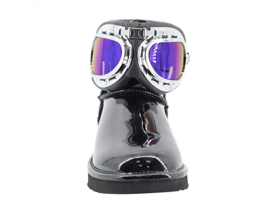 Mini Patent Motor Glasses - Black