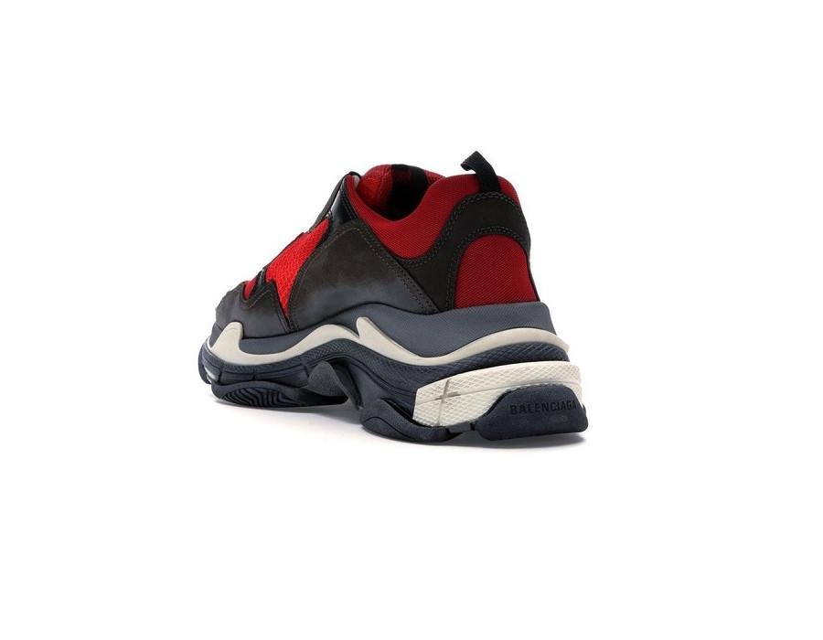 Мужские кроссовки Баленсиага трипл с черно-красные