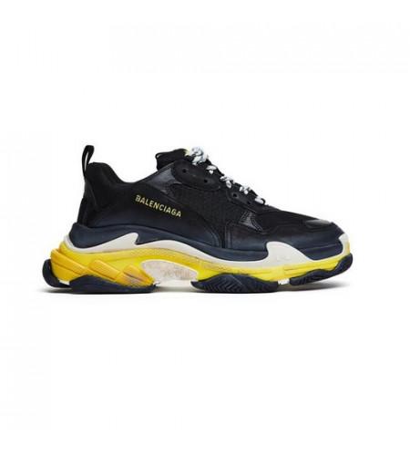 Мужские кроссовки Баленсиага трипл с черно-желтые