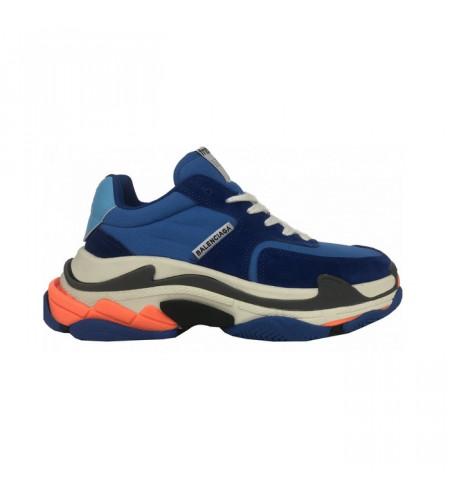 Мужские кроссовки Баленсиага трипл с голубо-оранжевые