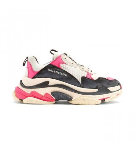 Женские кроссовки Balenciaga Triple S черно-розовые