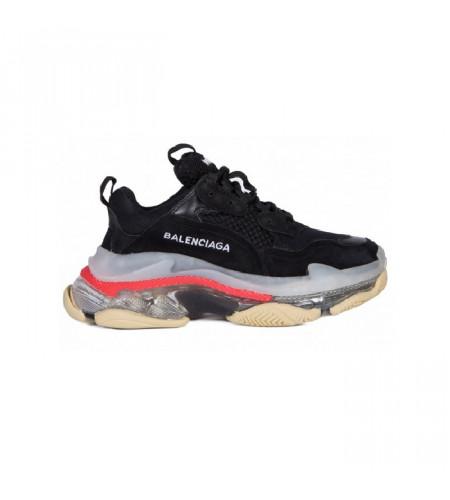 Мужские кроссовки Баленсиага трипл с Transparent Botton Cushion черные