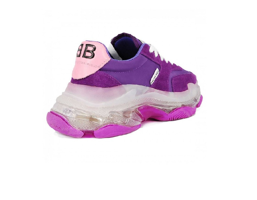 Женские кроссовки Balenciaga Triple S BB Bubble Фиолетовые