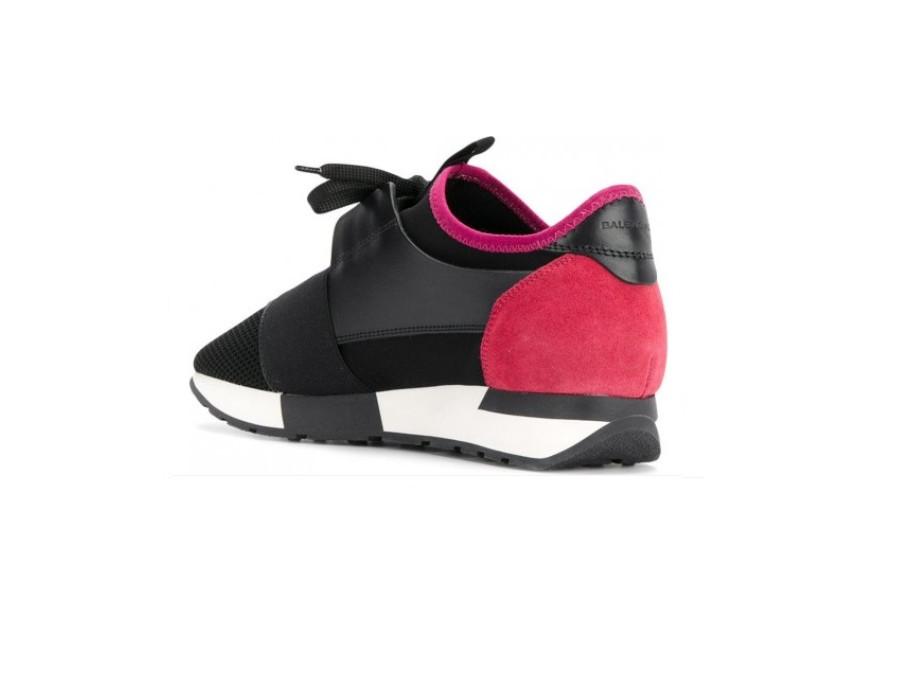 Женские кросовки Balensiaga Race Черно-розовые