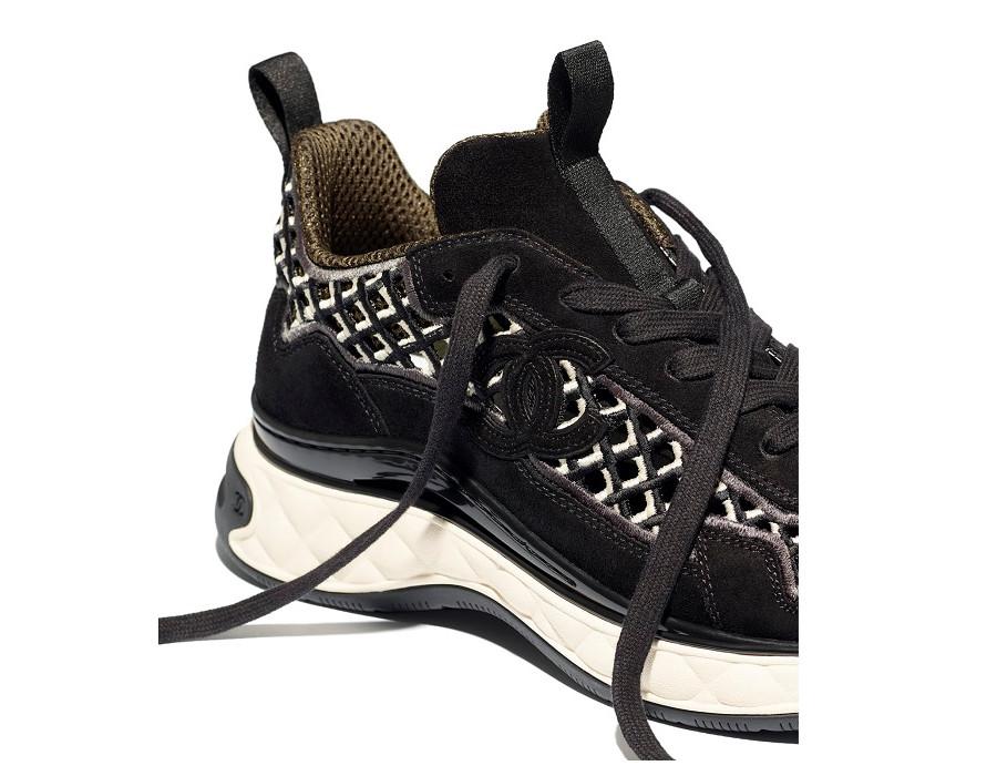 Женские кроссовки Chanel Suede Calfskin & Embroidery черные