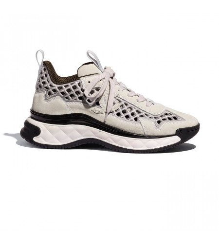 Женские кроссовки Chanel Suede Calfskin & Embroidery Ecru & Grey серые