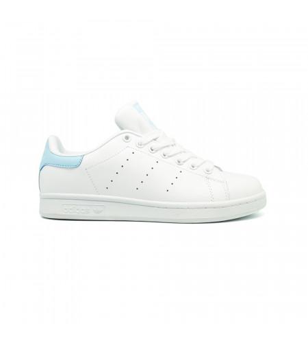 Женские кроссовки Adidas Stan Smith Leather бело голубые