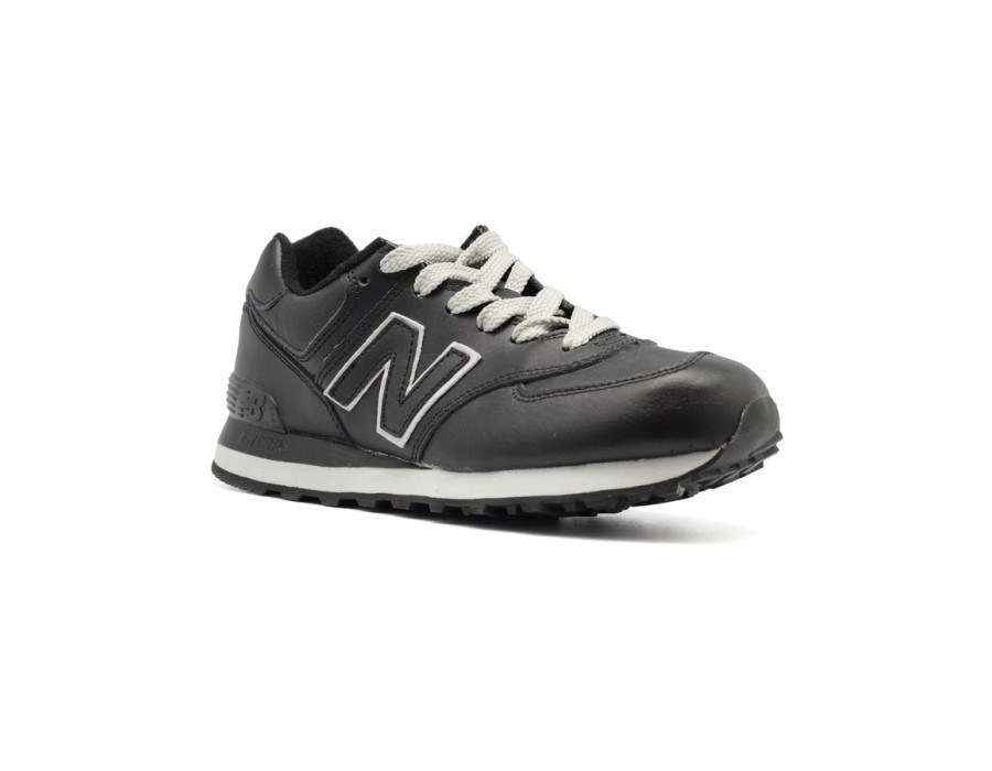 New Balance Женские 574 Leather Black-Grey