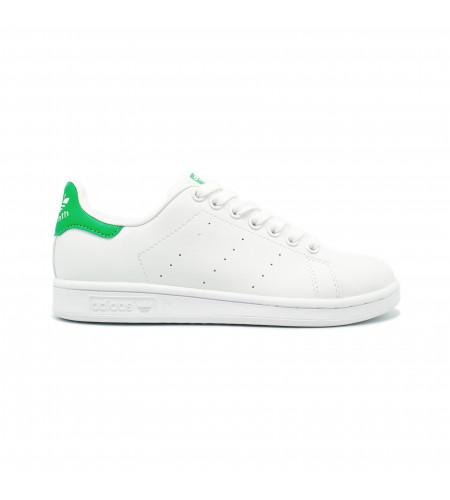 Женские кеды Adidas Stan Smith бело зеленые