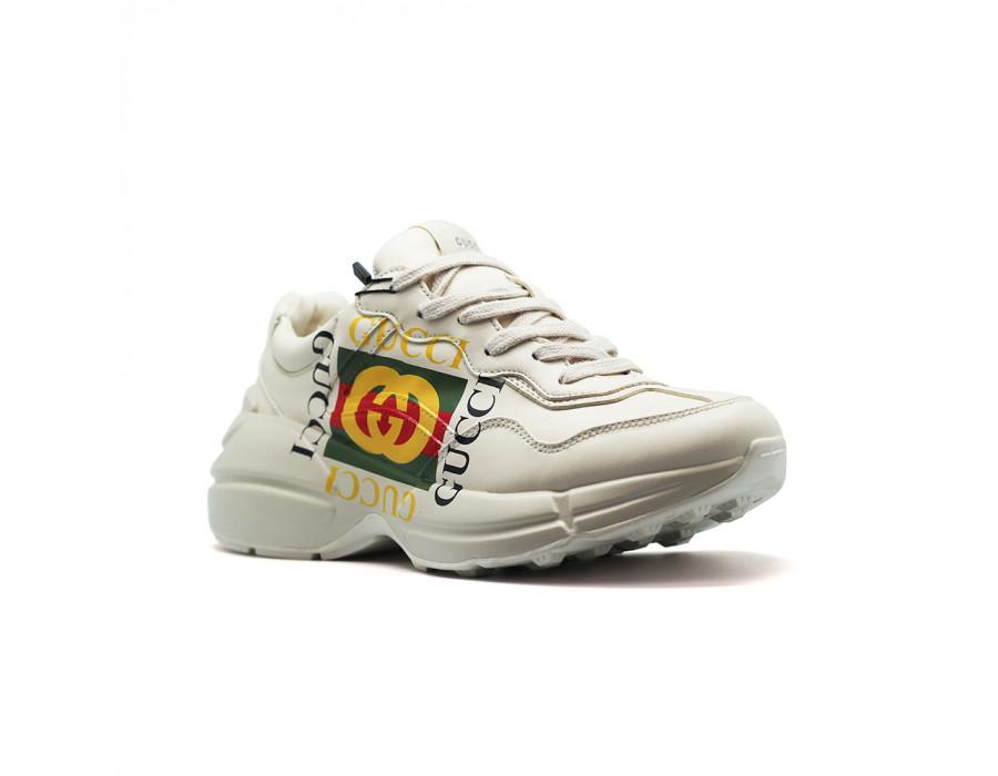 Мужские кеды Gucci Rhyton Logo Leather светлые с логотипом