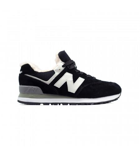 Зимние женские кеды New Balance 574 Black черные