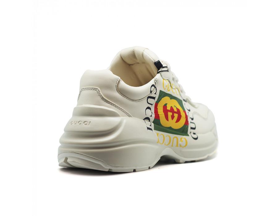 Женские кеды Gucci Rhyton Logo Leather светлые с логотипом