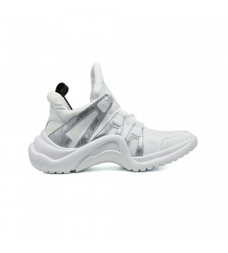 Женские кеды Louis Vuitton Archlight Sneakers бело - серебристые