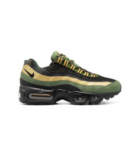 Мужские кеды Nike Air Max 95 Black-Gold-Green черно золотые